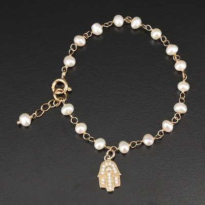Sterling Silver Cultured Pearl and Cubic Zirconia Hand of Fatima Bracelet