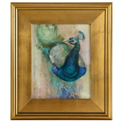 Oil Painting of Peacock