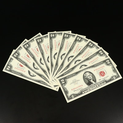 Ten Consecutive Serial Numbered 1963 $2 United States Currency Notes