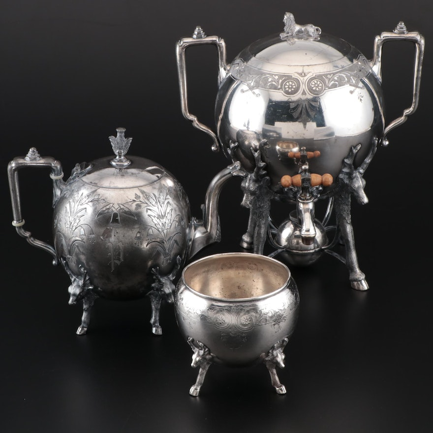 Simpson, Hall, Miller & Co. Aesthetic Movement Triple Plate Tea Service Pieces