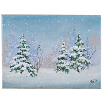 Sue Dion Winter Landscape Oil Painting