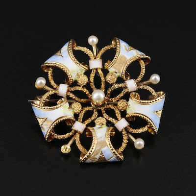 Victorian 14K Yellow Gold Pearl and Enamel Brooch