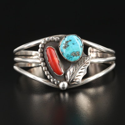 Louise Platero Navajo Diné Sterling Turquoise and Coral Cuff