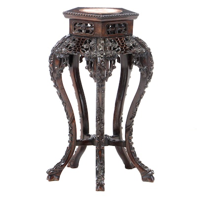Chinese Carved Rosewood Plant Stand, Early 20th Century