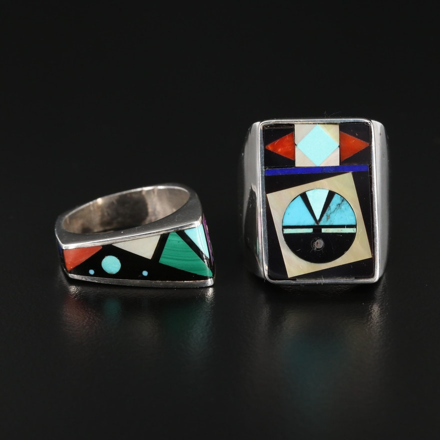 Southwestern Style Sterling Silver Mosaic Gemstone Rings