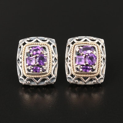 Sterling Silver Amethyst and Diamond Earrings with 14K Accents
