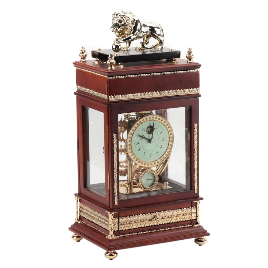 Falling Ball Lion Top 8-Day Clock With Temp and Humidity Gauge