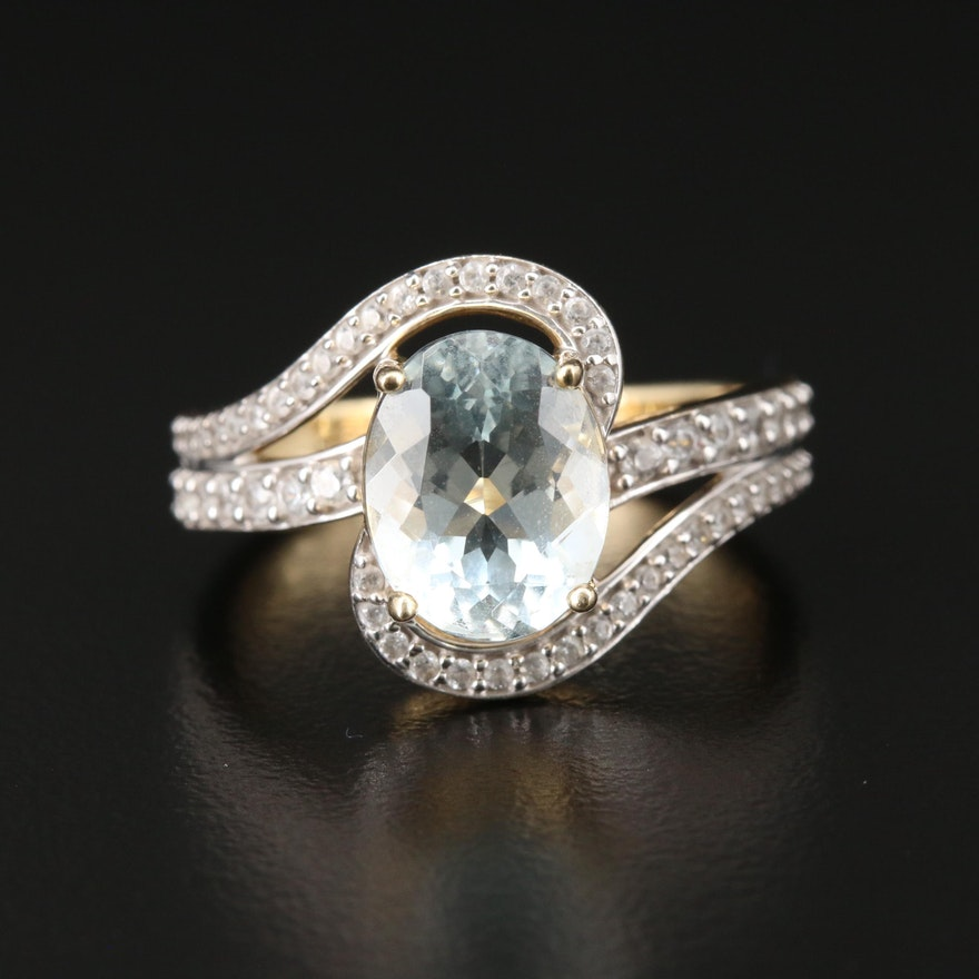 10K Yellow Gold Aquamarine and Topaz Ring