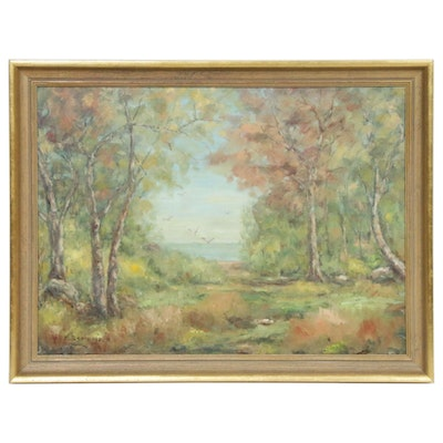 M. Samuelson Coastal Forest Landscape Oil Painting, Mid-Late 20th Century