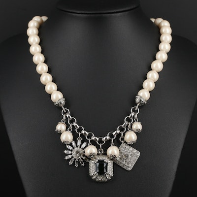 Carolee Faux Pearl and Rhinestone Necklace