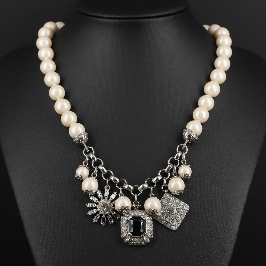 Carolee Imitation Pearl and Rhinestone Necklace