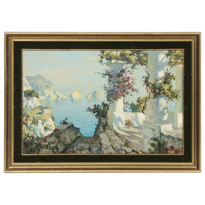 Mediterranean Coastal Landscape Oil Painting, Early-Mid 20th Century