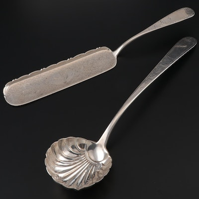 "S. Kirk & Sons ""Mayflower"" Coin Silver Crumber and Shell Serving Spoon, 1860s"