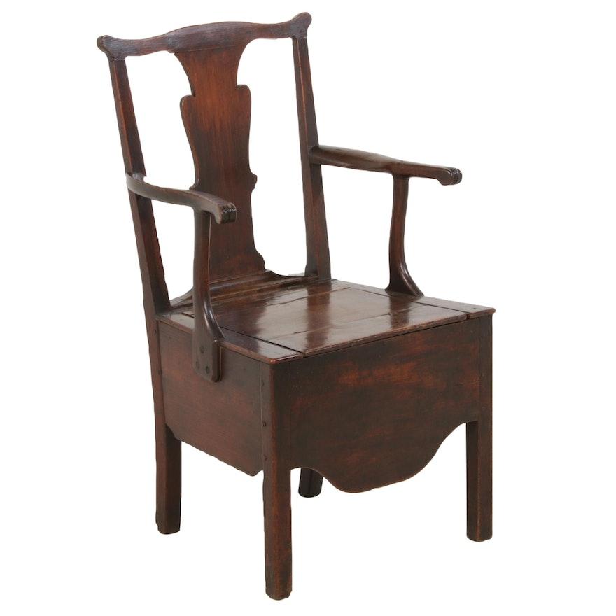 George II Oak Commode Chair, Late 18th Century