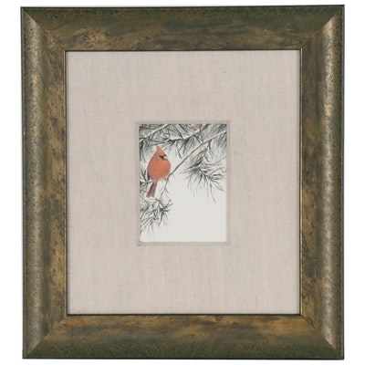 Cardinal on Pine Branch Giclée