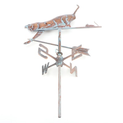 Handcrafted Copper and Metal Cat and Mouse Weather Vane