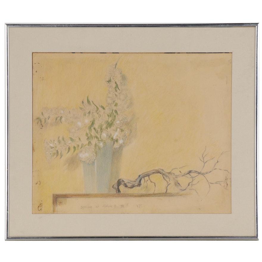 """Still Life Pastel Drawing """"Spring at Malvic H."""", 1978"""