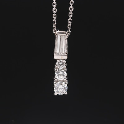 14K White Gold Diamond Pendant Necklace