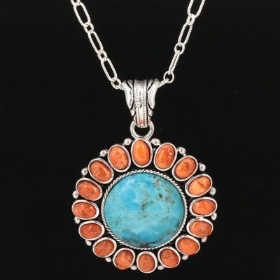 Sterling Silver Turquoise and Coral Pendant Necklace