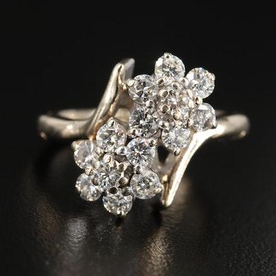 14K Yellow Gold Diamond Bypass Ring with Arthritic Shank