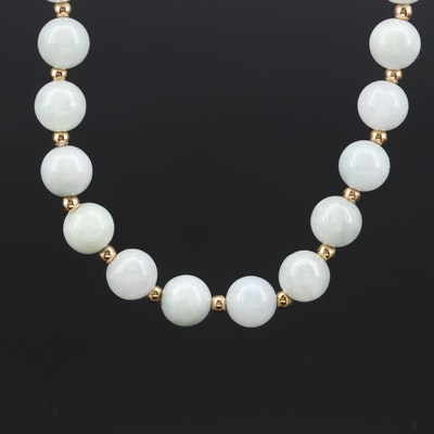 14K Yellow Gold Jadeite Necklace