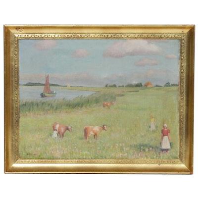 Pastoral Landscape Oil Painting, 1936