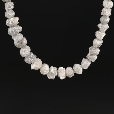 Graduated Rough Cut Diamond Necklace with 14K White Gold Clasp