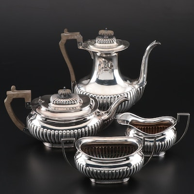 John Round & Son Edwardian Sterling Assembled Coffee and Tea Set, circa 1905