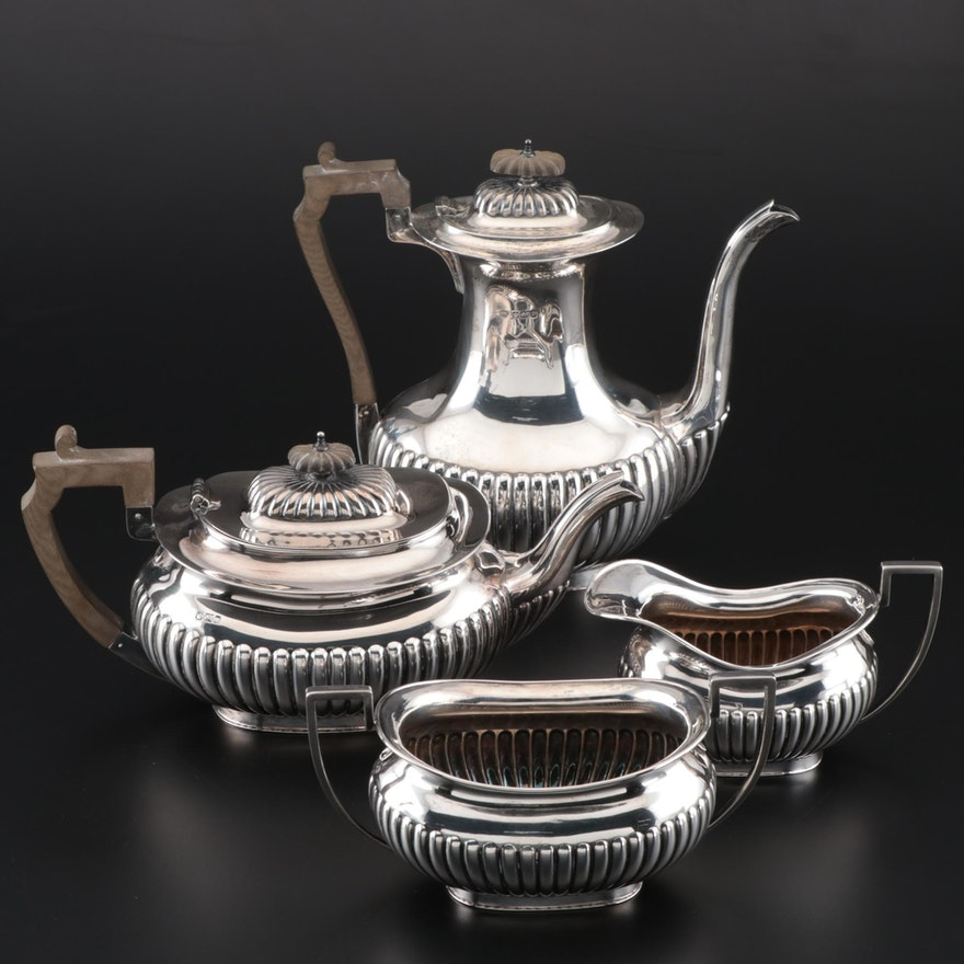 John Round & Son Edwardian Sterling Assembled Coffee and Tea Set, circa 1905