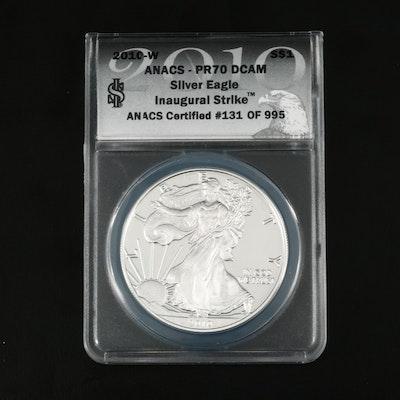 ANACS Graded PR70 DCAM 2010-W $1 U.S. Silver Eagle Proof Coin