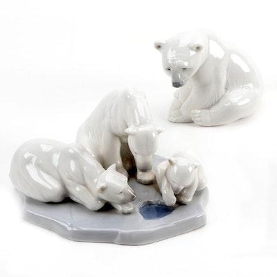 "Lladró ""Polar Bear"" and ""Bearly Love"" Figurines by Juan Huerta, 1983–2000"