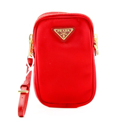 Prada Red Tessuto Nylon Convertible Crossbody Bag with Saffiano Leather Straps