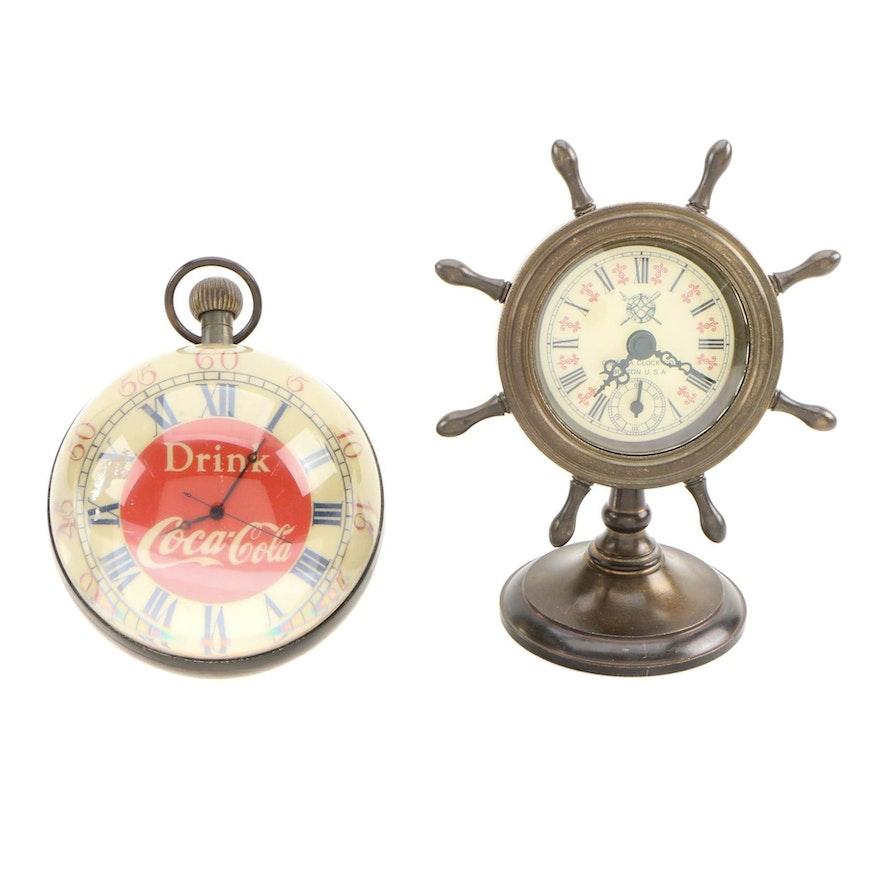 Coca-Cola Globe Clock Paperweight and Nautical Motif Desk Clock, 20th Century