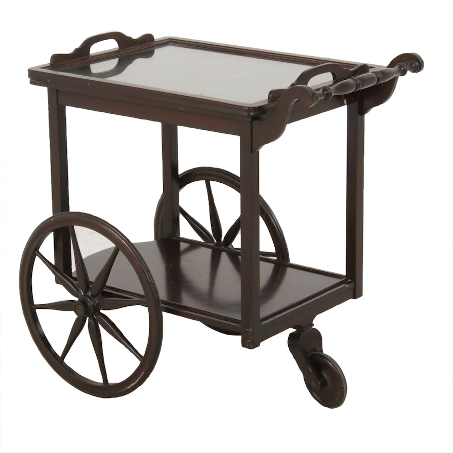 Imperial Furniture Victorian Style Mahogany Tea Cart with Glass Tray, circa 1940
