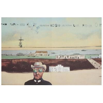 """Saul Steinberg Double-Page Offset Lithograph for """"Derrière le Miroir"""""""