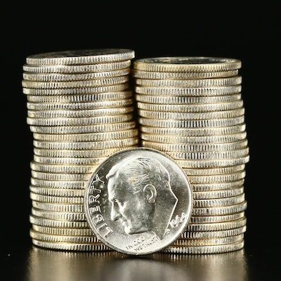 Roll of Fifty Uncirculated 1964 Silver Roosevelt Dimes