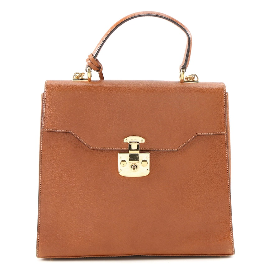 Gucci Kelly Cognac Leather Top Handle Bag with Shoulder Strap