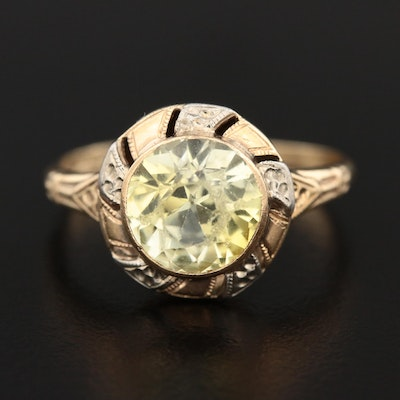 Vintage 10K Yellow Gold Sapphire Ring