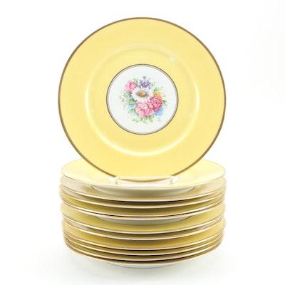 Léonard Bernardaud Floral Porcelain Dinner Plates, Early to Mid 20th Century