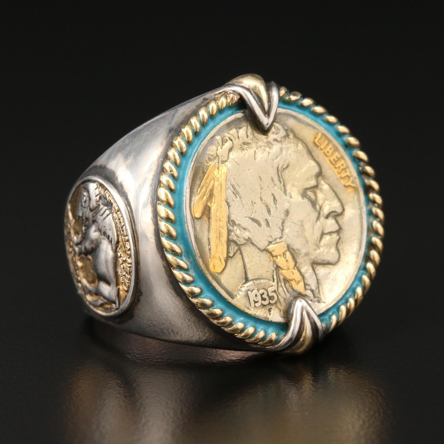 Sterling Silver Ring with 1935 Buffalo Nickel