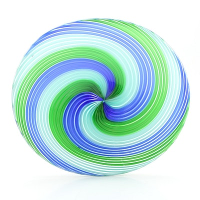 Hand Blown Swirl Art Glass Low Bowl Centerpiece