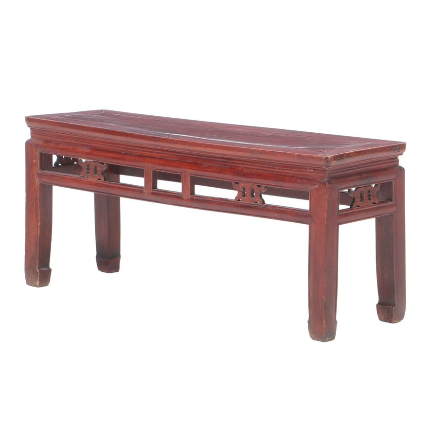 Red Lacquered Chinese Bench, Early to Mid 20th Century