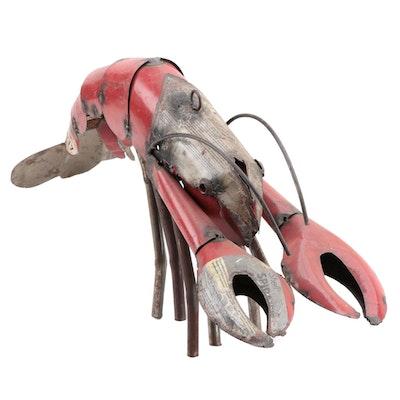 Mexican Folk Art Scrap Metal Lobster Sculpture