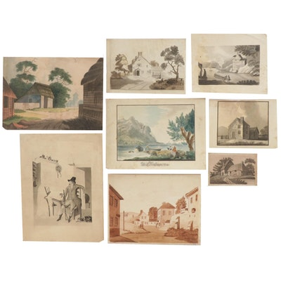 Landscape and Other Watercolor Paintings, 19th Century