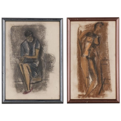 Pastel Figure Drawings Attributed to John Alfred Begg, Mid 20th Century