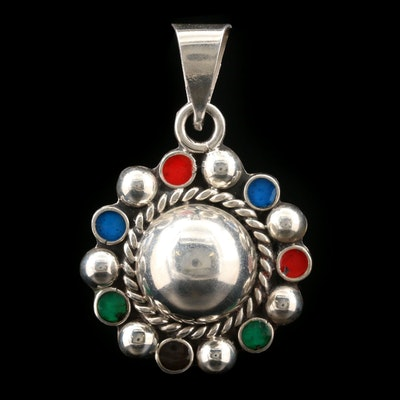 Mexican Sterling Silver Pendant With Multi-Colored Enamel Accents