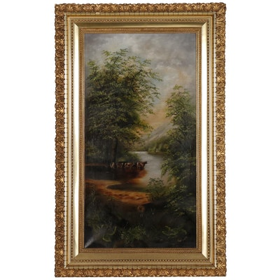 Landscape Oil Painting of Pastoral Scene, Late 19th/Early 20th Century