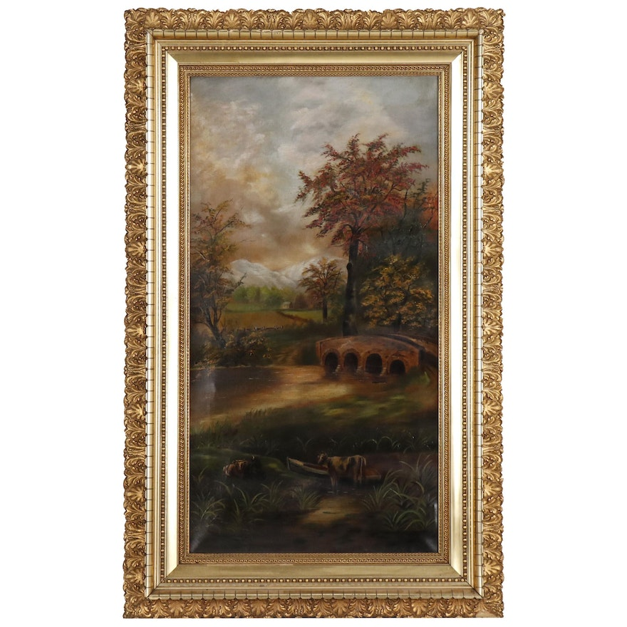 Landscape Oil Painting of Pastoral Scene, Late19th/Early 20th Century