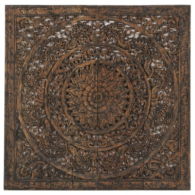 Carved Openwork Wooden Wall Hanging Medallion