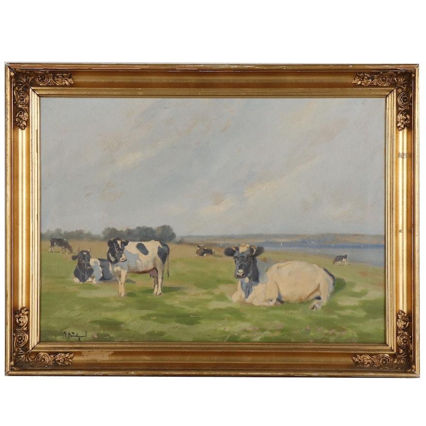 Pastoral Coastal Landscape Oil Painting, Mid 20th Century